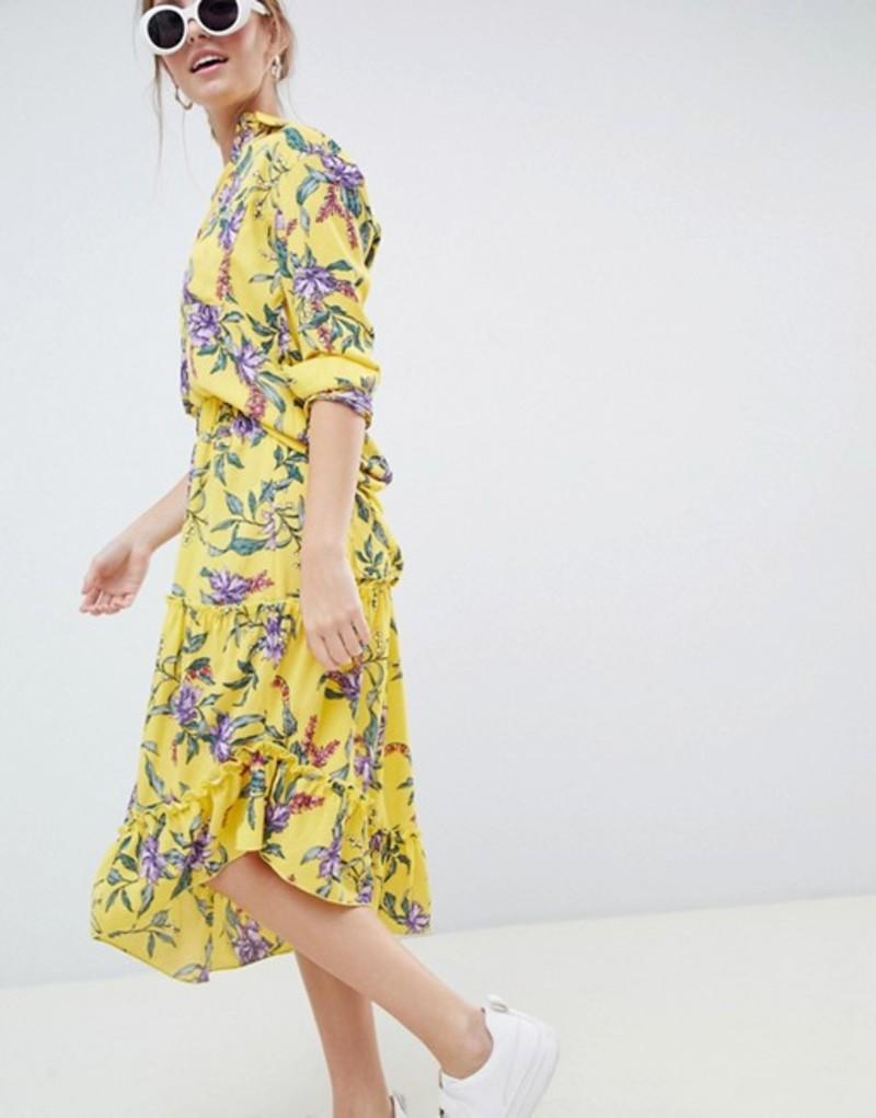 ミニマム レディース スカート ボトムス Moves By Minimum asymmetric hem floral skirt Aspen gold