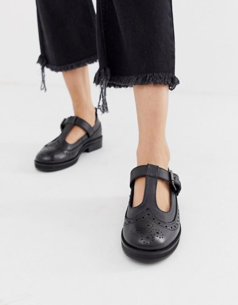 エイソス レディース パンプス シューズ ASOS DESIGN Moral leather flat shoes in black Black
