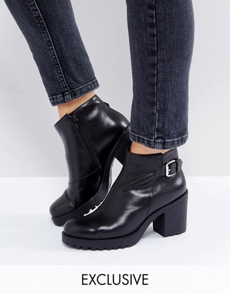 バガボンド レディース ブーツ・レインブーツ シューズ Vagabond Grace Buckle Detail Black Chunky Leather Ankle Boots Black