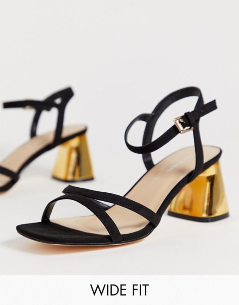ロンドンレベル レディース サンダル シューズ London Rebel wide fit kitten heel stud sandals Black