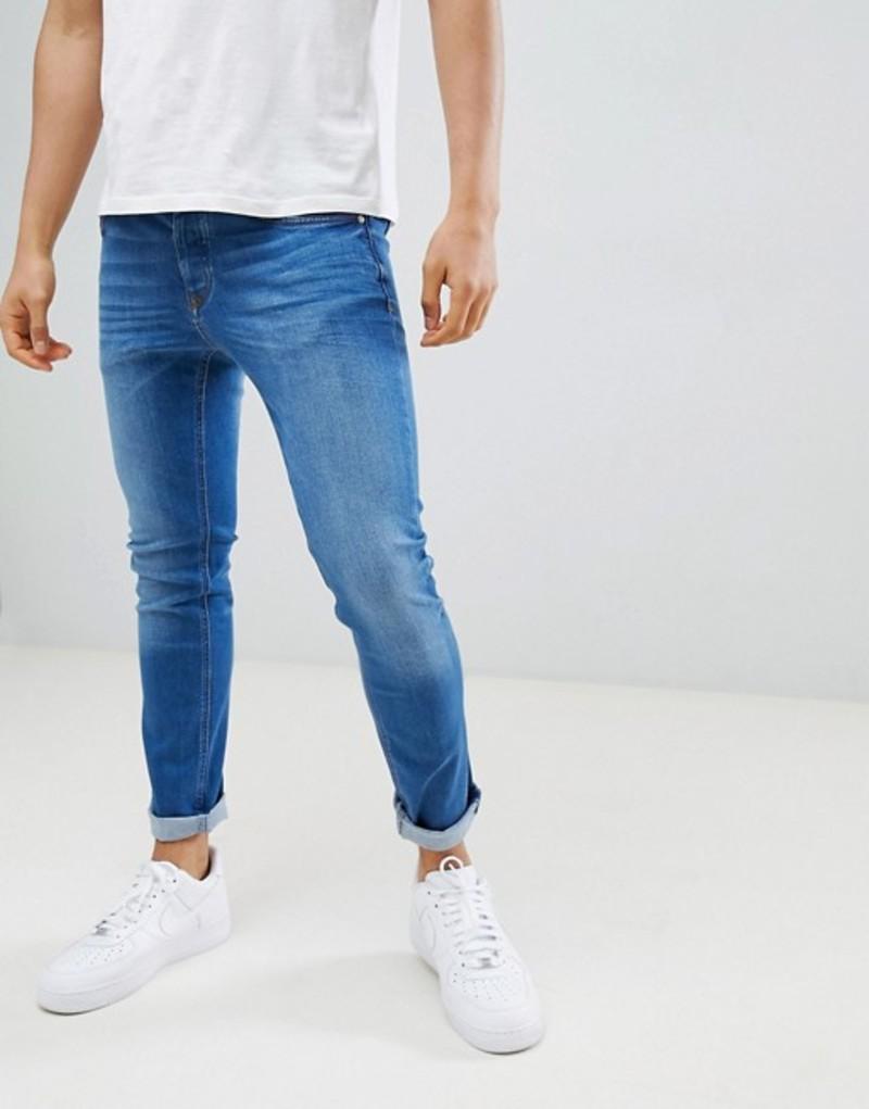 リバーアイランド メンズ デニムパンツ ボトムス River Island skinny jeans in mid wash blue Mid blue