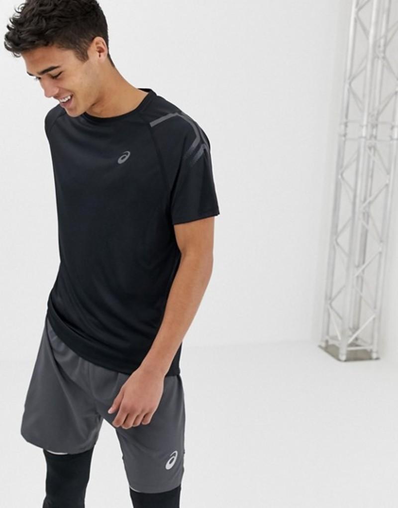 アシックス メンズ Tシャツ トップス Asics Running Icon T-Shirt In Black Black
