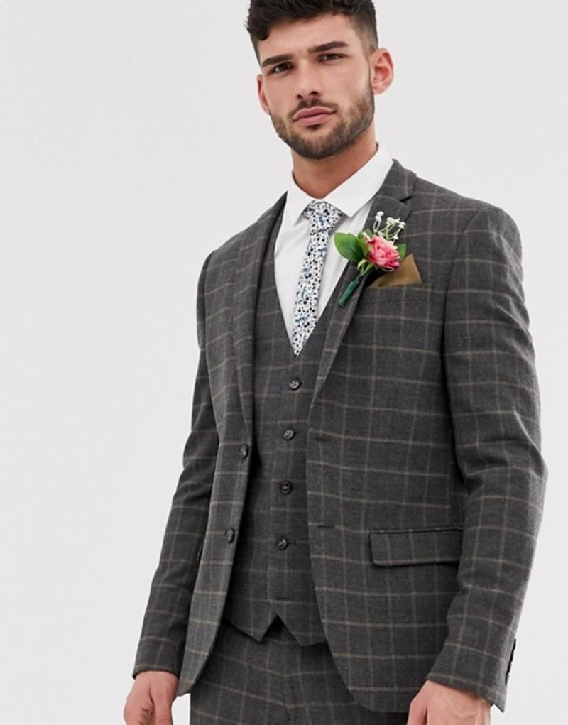 リバーアイランド メンズ ジャケット・ブルゾン アウター River Island wedding suit jacket in dark gray check Dark grey