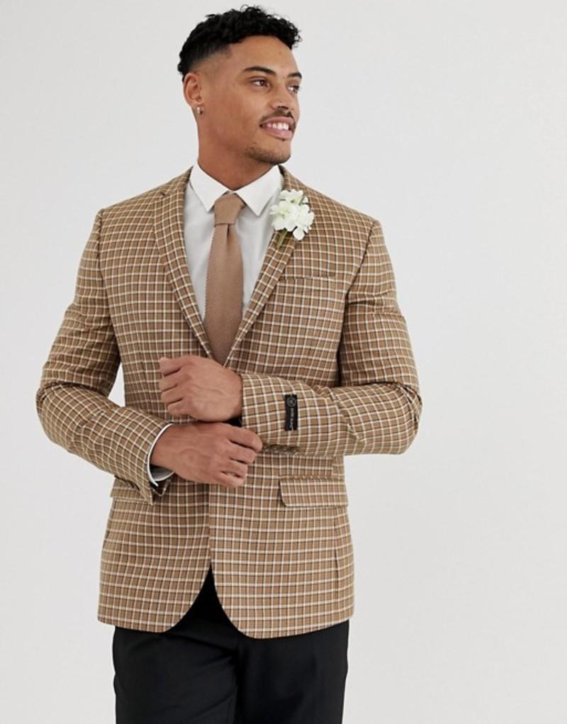 リバーアイランド メンズ ジャケット・ブルゾン アウター River Island wedding skinny fit blazer in brown check Brown