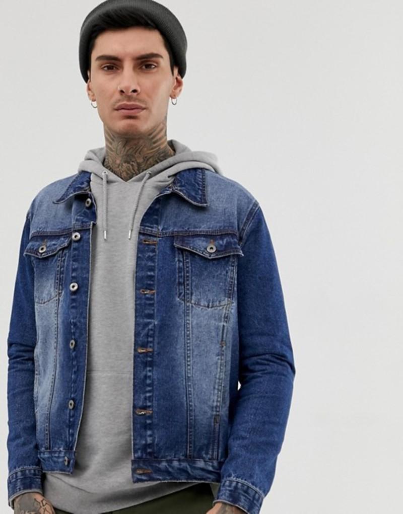 アナザーインフルエンス メンズ ジャケット・ブルゾン アウター Another Influence slim fit indigo denim jacket Blue