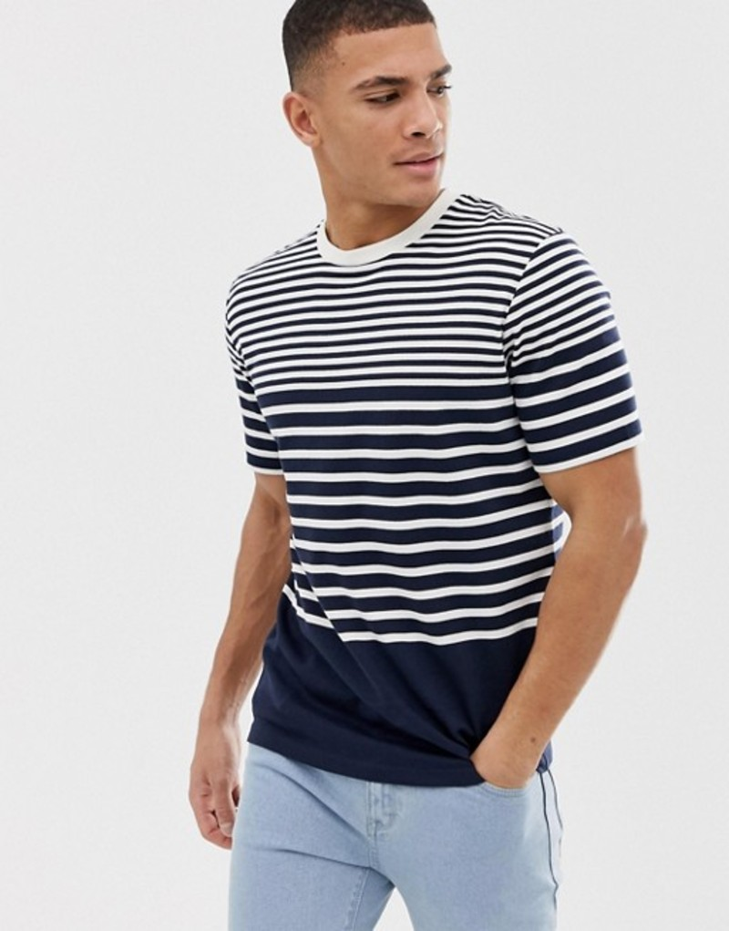 セレクテッドオム メンズ Tシャツ トップス Selected Homme t-shirt with various stripes Dark sapphire