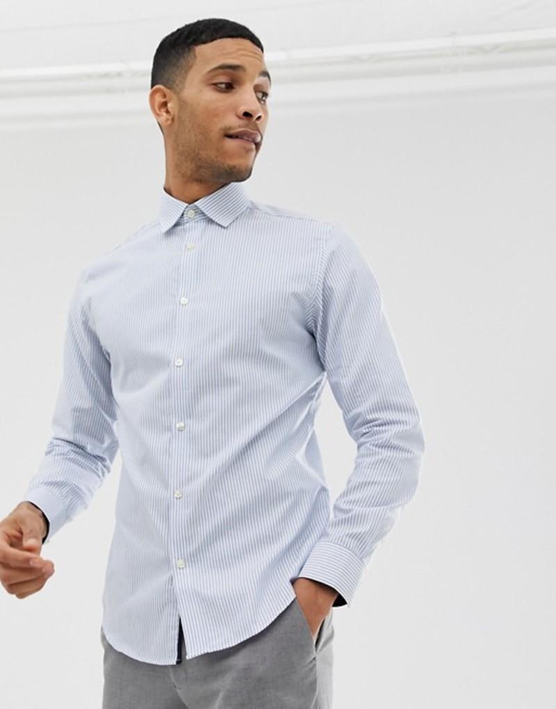 セレクテッドオム メンズ シャツ トップス Selected Homme slim fit smart shirt with stretch Sky blue stripe