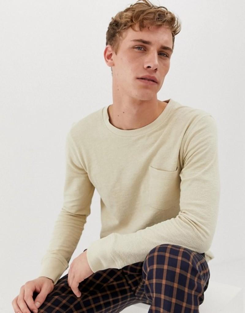 セレクテッドオム メンズ Tシャツ トップス Selected Homme long sleeve t-shirt with pocket in slub cotton Oyster gray