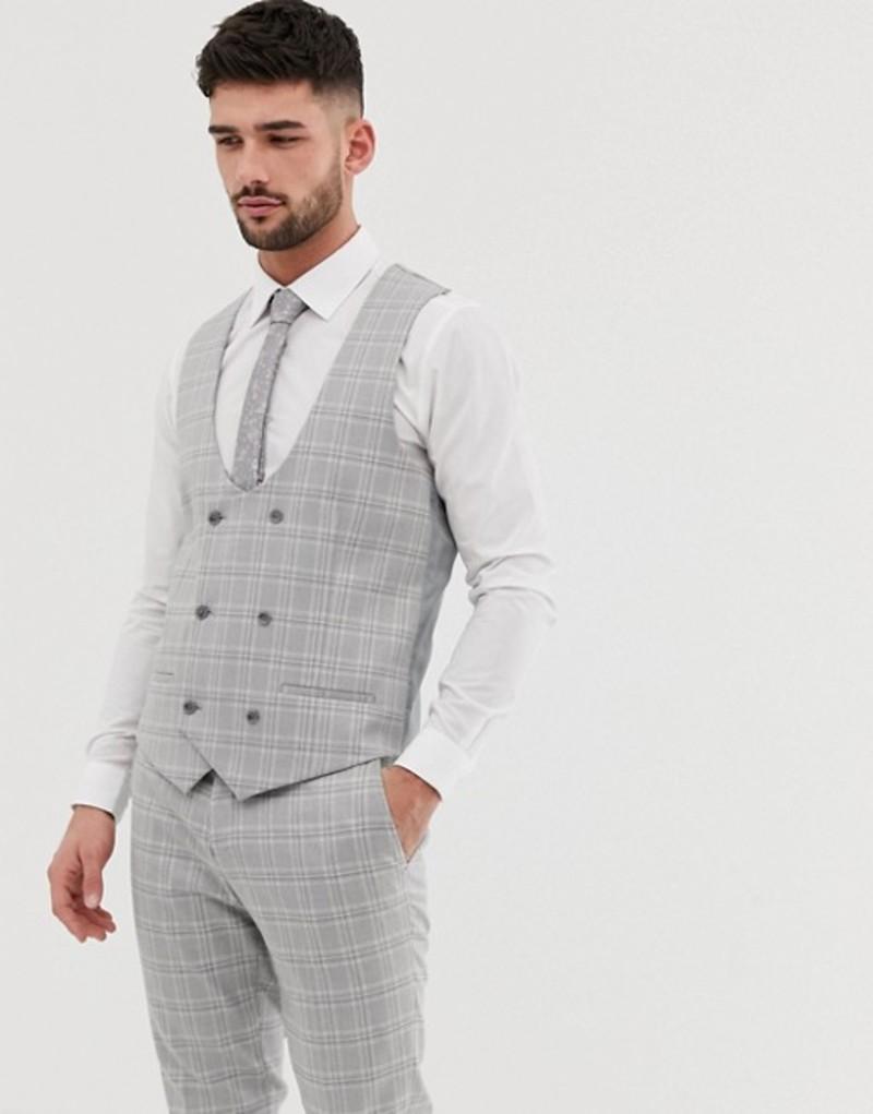リバーアイランド メンズ タンクトップ トップス River Island wedding skinny suit vest in gray check Grey