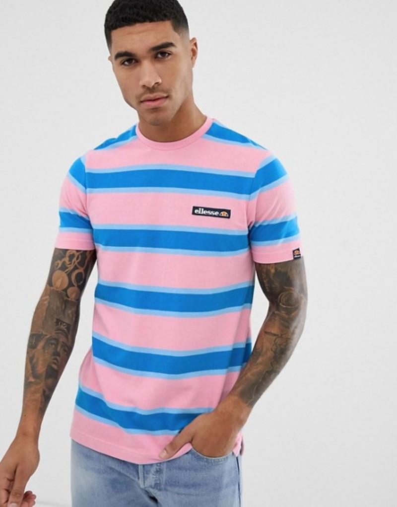 エレッセ メンズ Tシャツ トップス ellesse Pluto retro striped t-shirt in pink Pink