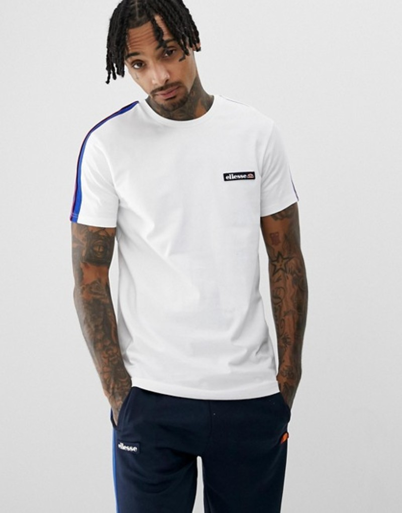 エレッセ メンズ Tシャツ トップス ellesse Pianto t-shirt with sleeve stripe in white White