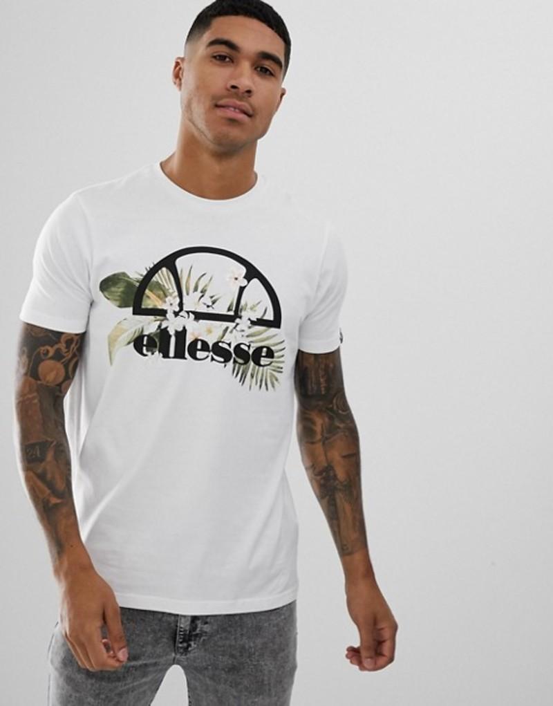 エレッセ メンズ Tシャツ トップス ellesse Forli t-shirt with large floral logo in white White