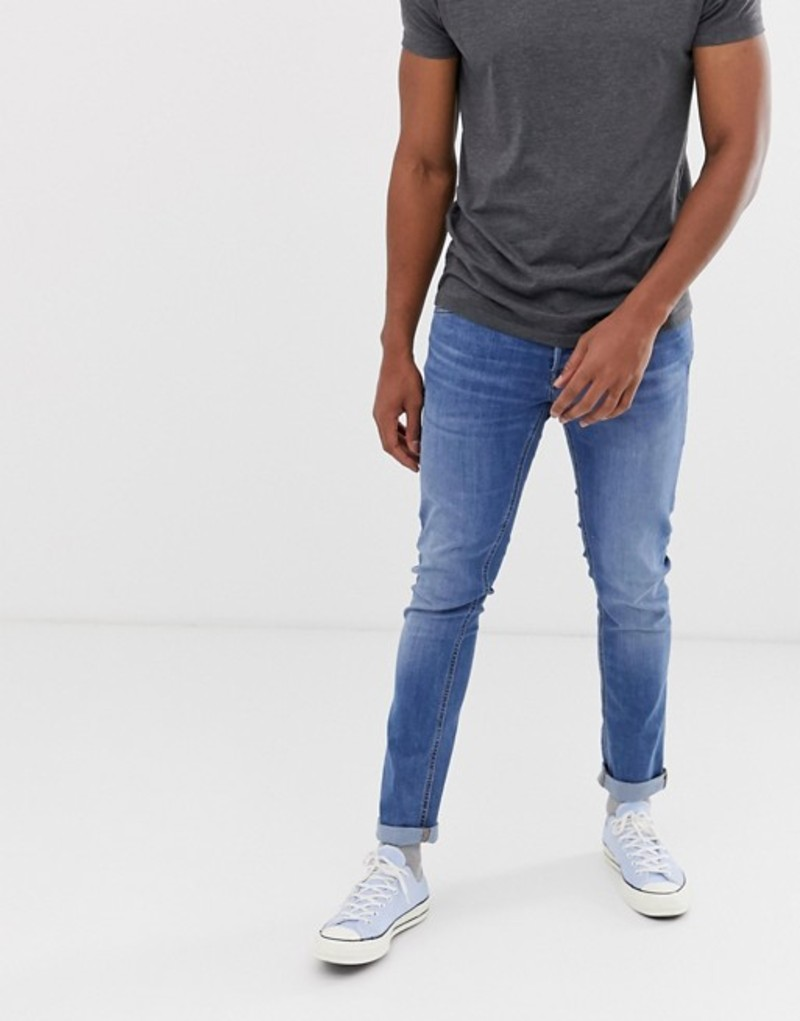 ジャック アンド ジョーンズ メンズ デニムパンツ ボトムス Jack & Jones Intelligence tapered slim fit jeans in light blue Blue denim