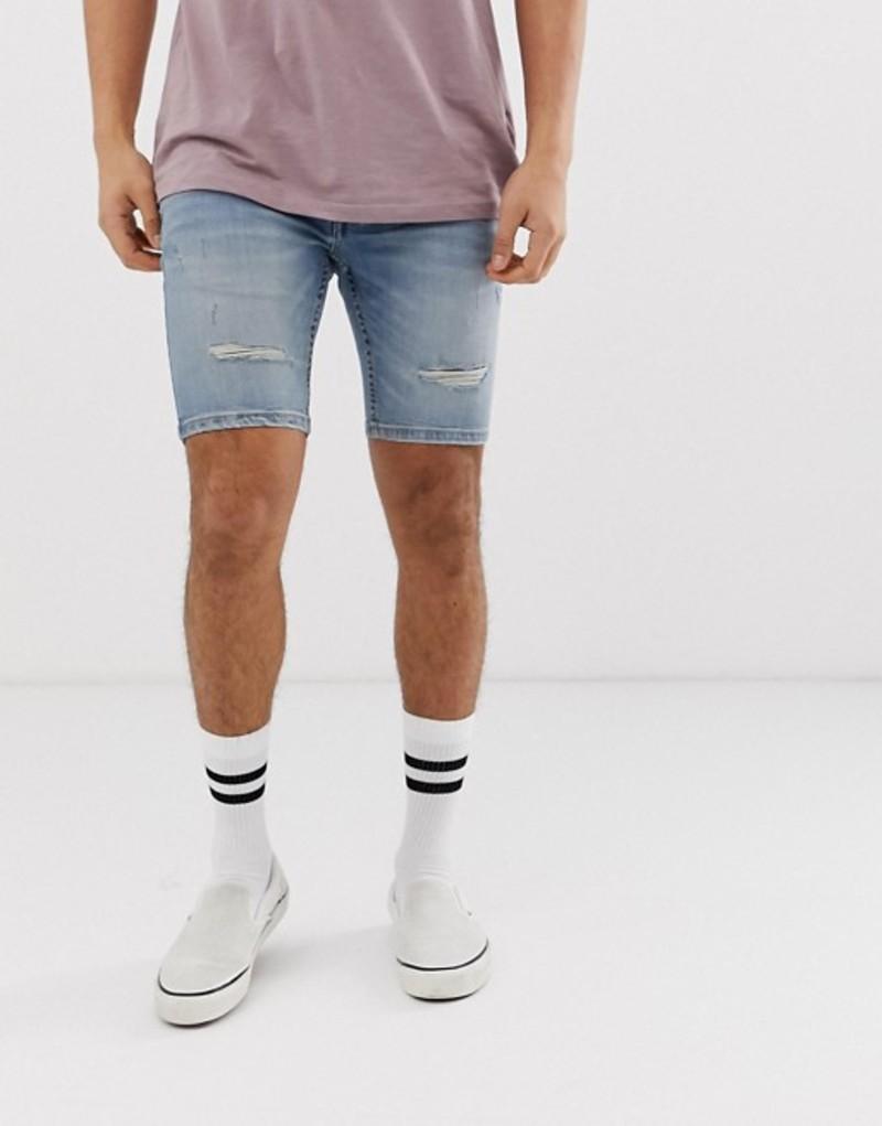 リバーアイランド メンズ ハーフパンツ・ショーツ ボトムス River Island denim shorts with rips in light blue wash Light blue