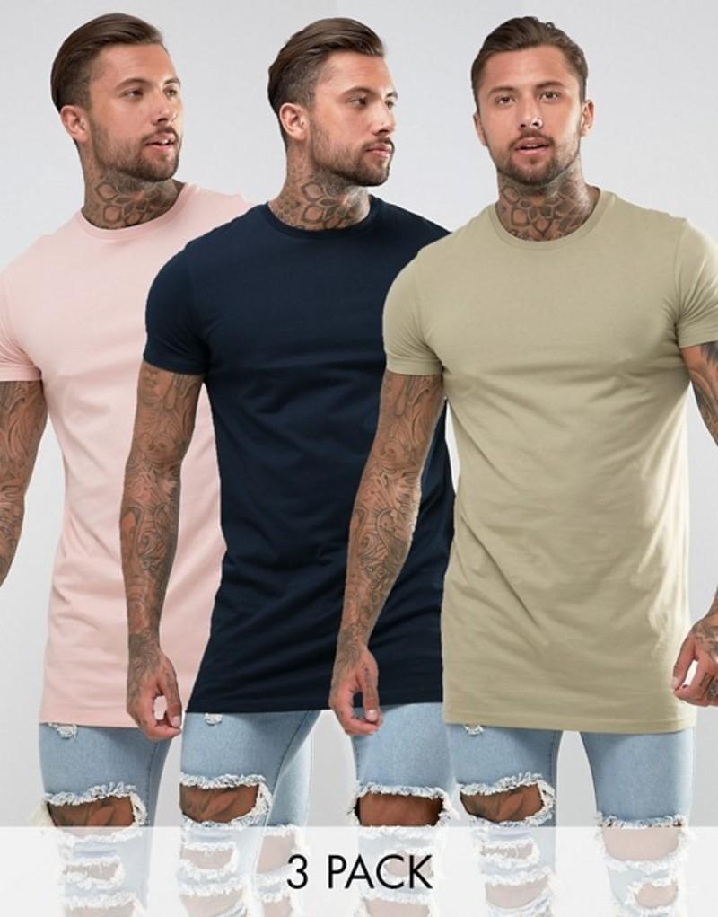 エイソス メンズ Tシャツ トップス ASOS DESIGN super longline t-shirt 3 pack multipack saving Pink / navy / khaki