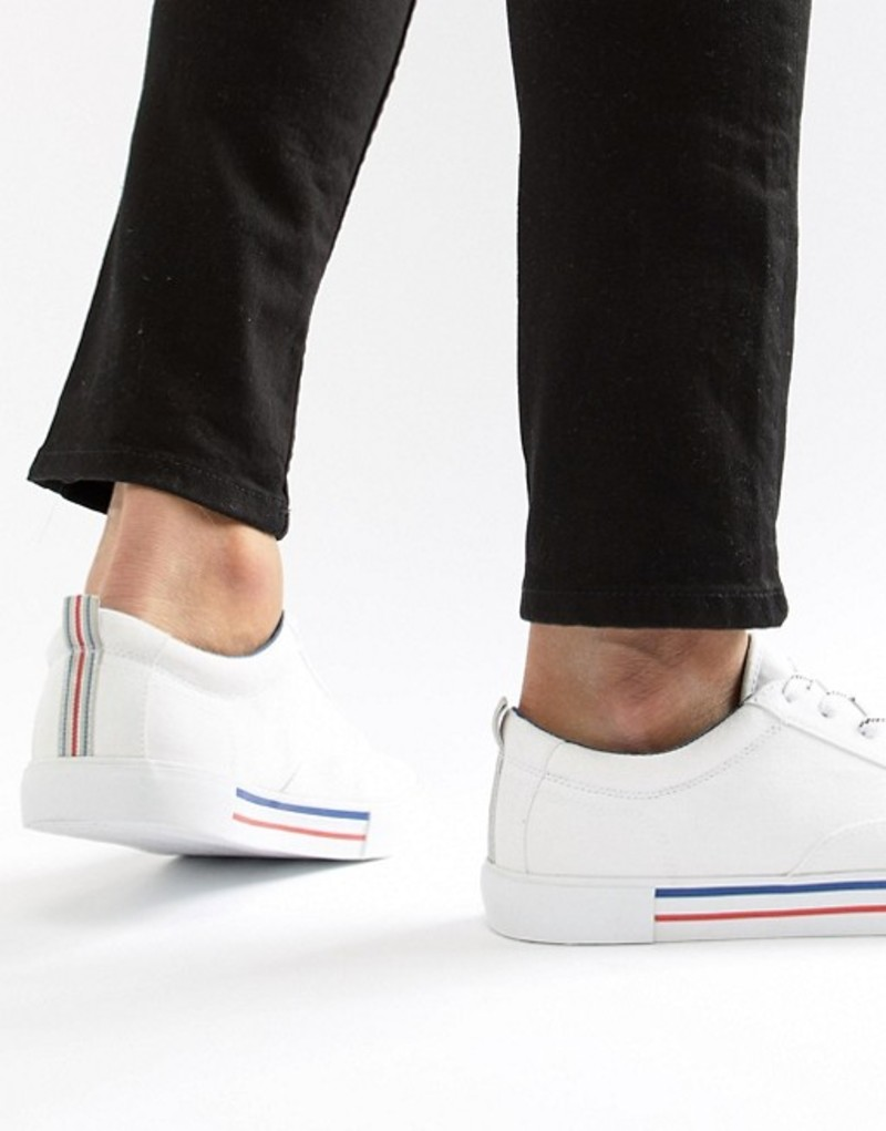 エイソス メンズ スニーカー シューズ ASOS DESIGN lace up plimsolls in white with navy and red detailing White