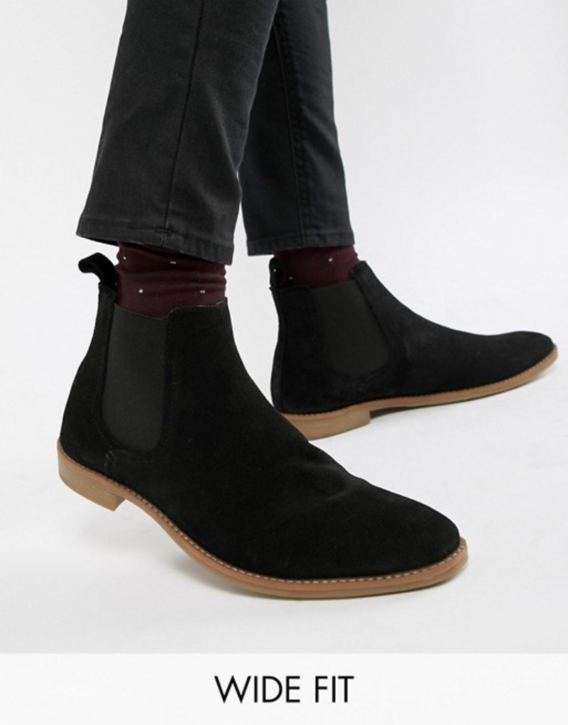 エイソス メンズ ブーツ・レインブーツ シューズ ASOS DESIGN Wide Fit chelsea boots in black suede with natural sole Black