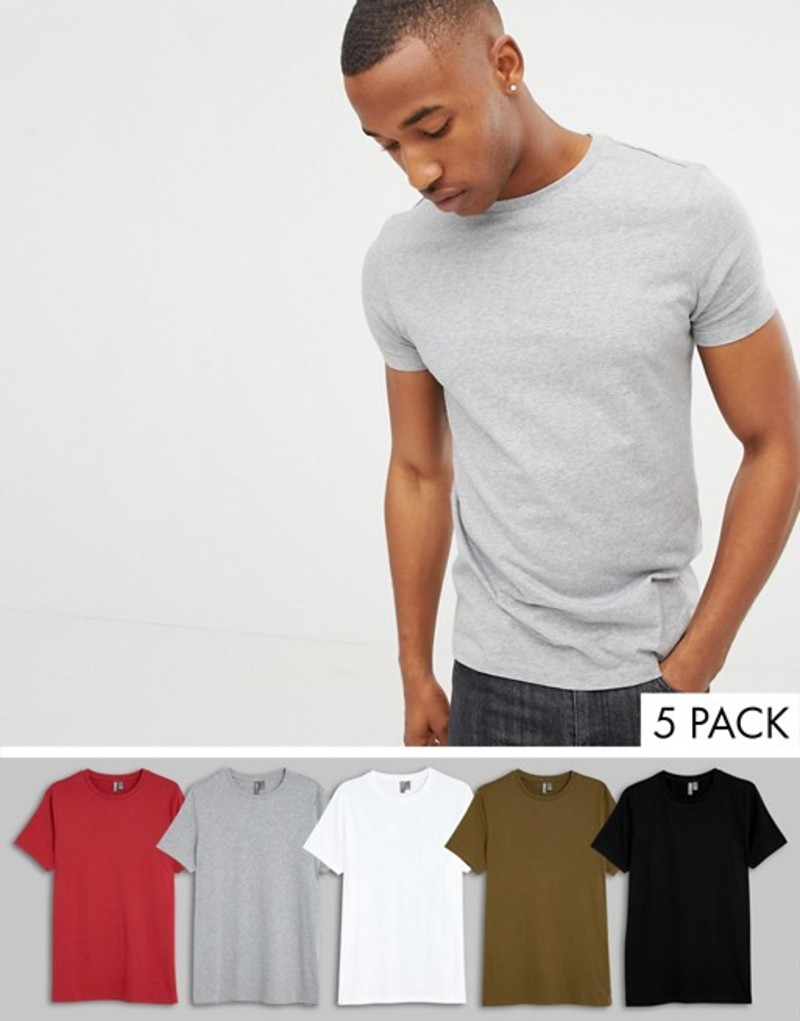 エイソス メンズ Tシャツ トップス ASOS DESIGN organic t-shirt with crew neck 5 pack multipack saving Wht/blk/gm/rio/dark