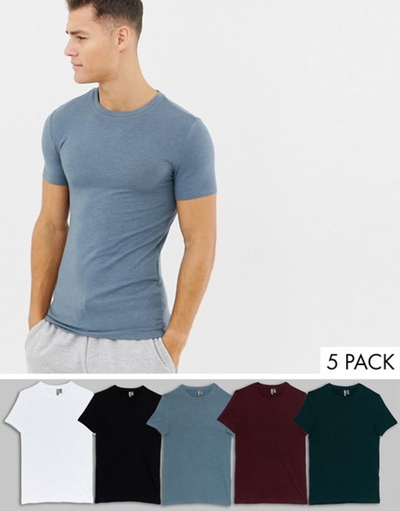エイソス メンズ Tシャツ トップス ASOS DESIGN organic muscle fit crew neck t-shirt with stretch 5 pack multipack saving Wht/blk/port/sca/sto