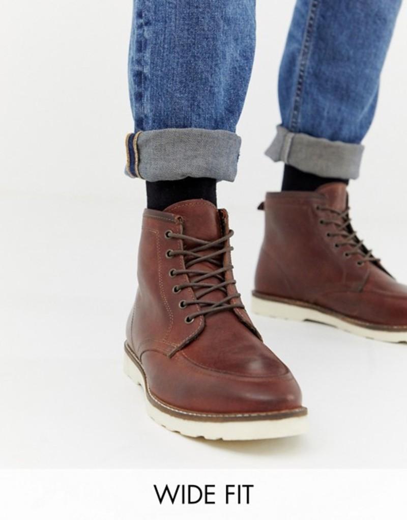 エイソス メンズ ブーツ・レインブーツ シューズ ASOS DESIGN Wide Fit lace up boots in brown leather with white sole Brown