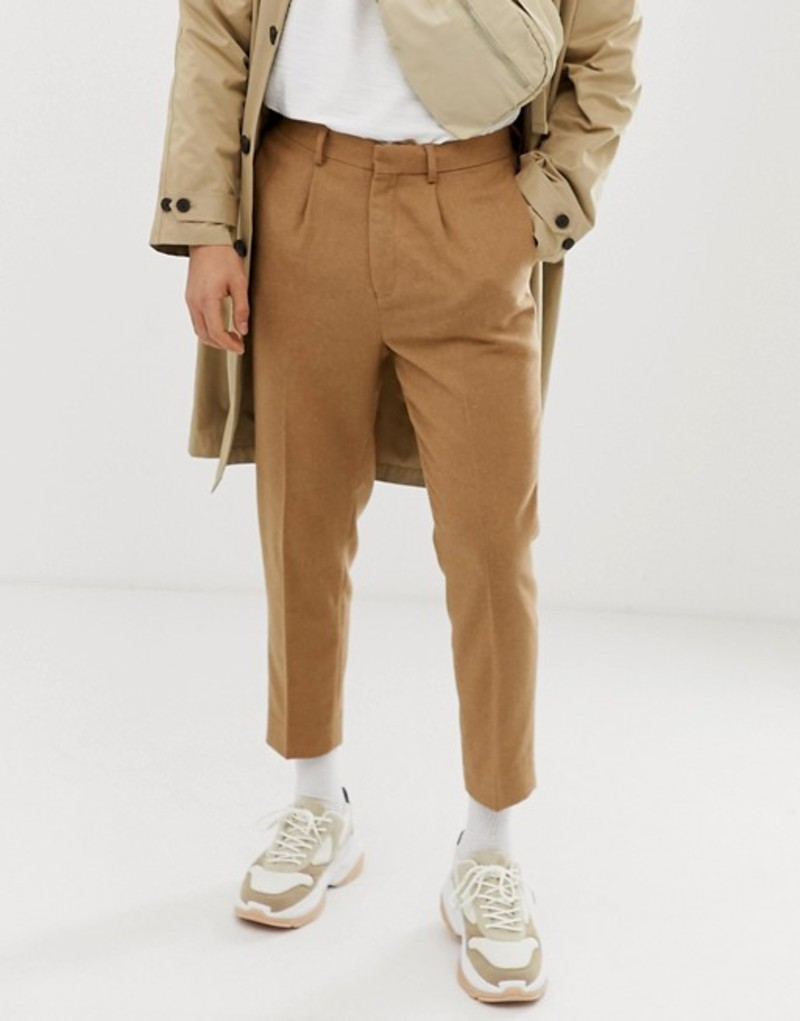 エイソス メンズ カジュアルパンツ ボトムス ASOS DESIGN tapered crop smart pants in textured wool mix camel Camel