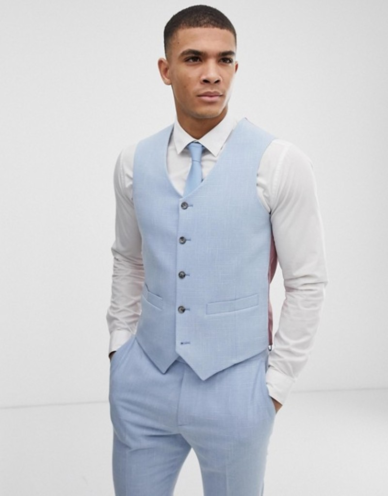 エイソス メンズ タンクトップ トップス ASOS DESIGN wedding skinny suit vest in blue cross hatch Light blue