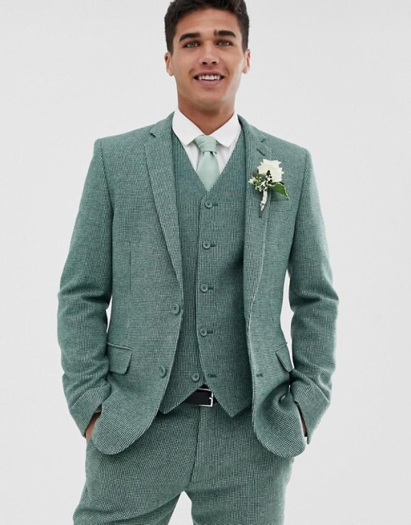 エイソス メンズ ジャケット・ブルゾン アウター ASOS DESIGN wedding super skinny suit jacket in green wool blend mini check Sage green