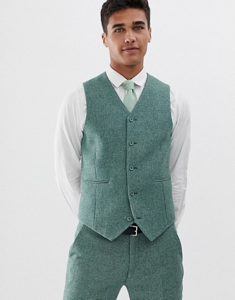 エイソス メンズ タンクトップ トップス ASOS DESIGN wedding super skinny suit vest in green wool blend mini check Sage green