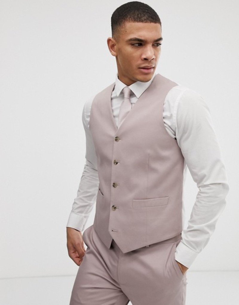 エイソス メンズ タンクトップ トップス ASOS DESIGN wedding skinny stretch cotton suit vest in mink Bark