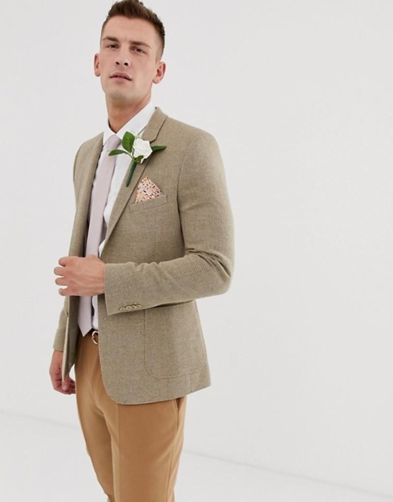 エイソス メンズ ジャケット・ブルゾン アウター ASOS DESIGN wedding skinny blazer in beige wool mix Beige