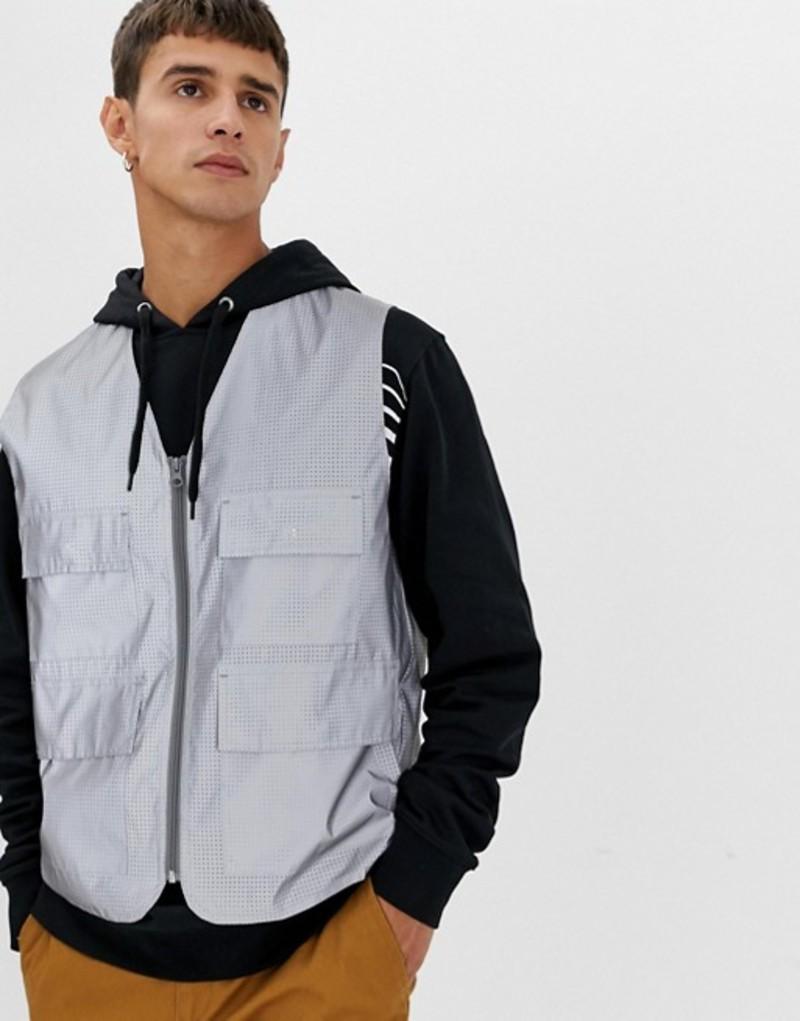 エイソス メンズ タンクトップ トップス ASOS DESIGN reflective vest Silver