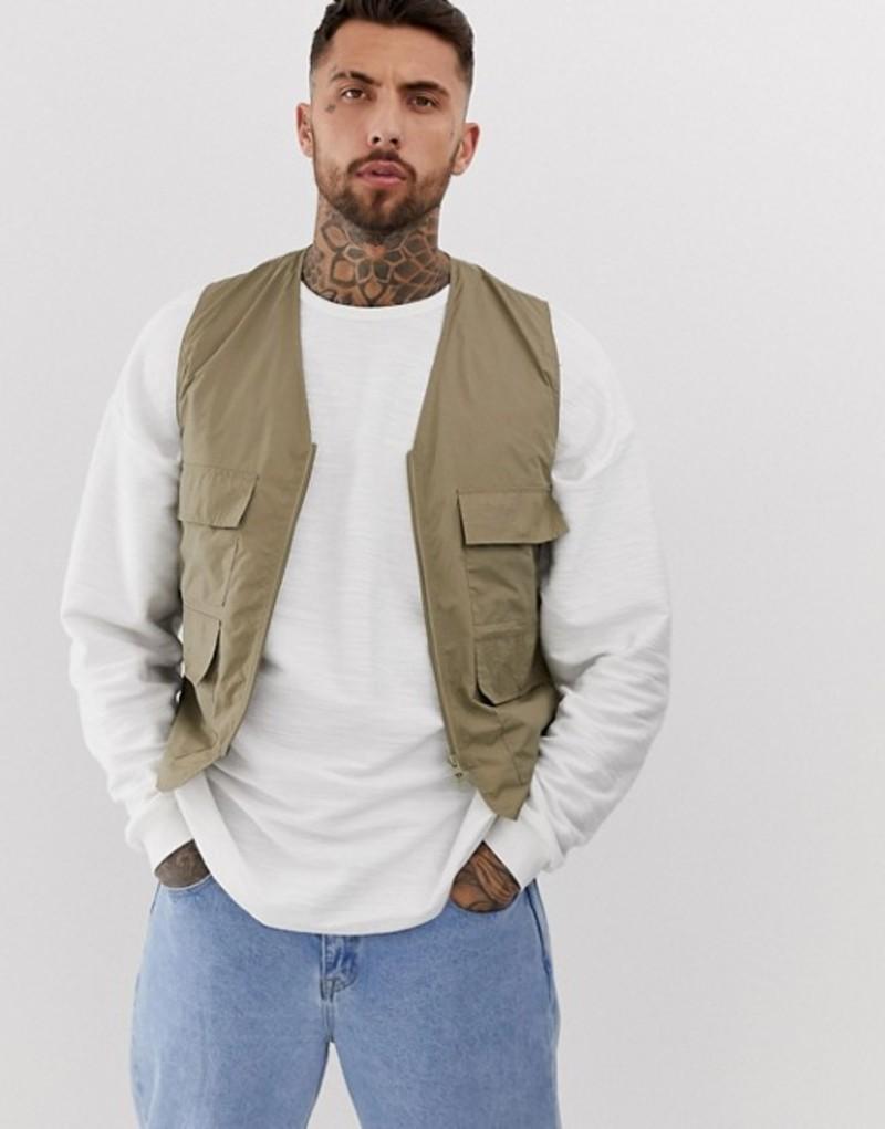 エイソス メンズ タンクトップ トップス ASOS DESIGN utility vest in khaki Light khaki
