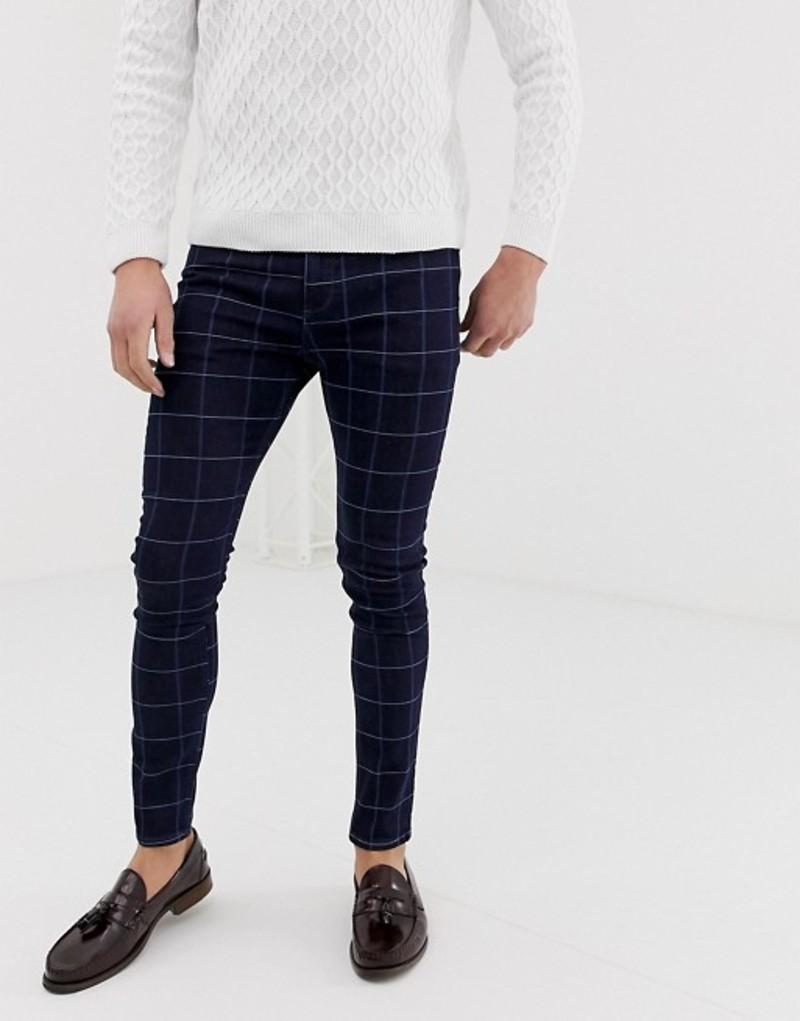 エイソス メンズ デニムパンツ ボトムス ASOS DESIGN super skinny smart jean in blue check Indigo
