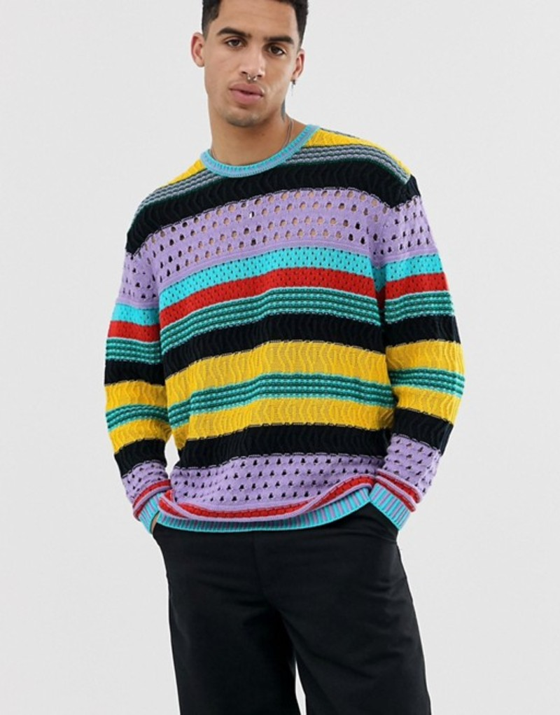 エイソス メンズ ニット・セーター アウター ASOS DESIGN knitted oversized sweater with crochet stripe design Multi