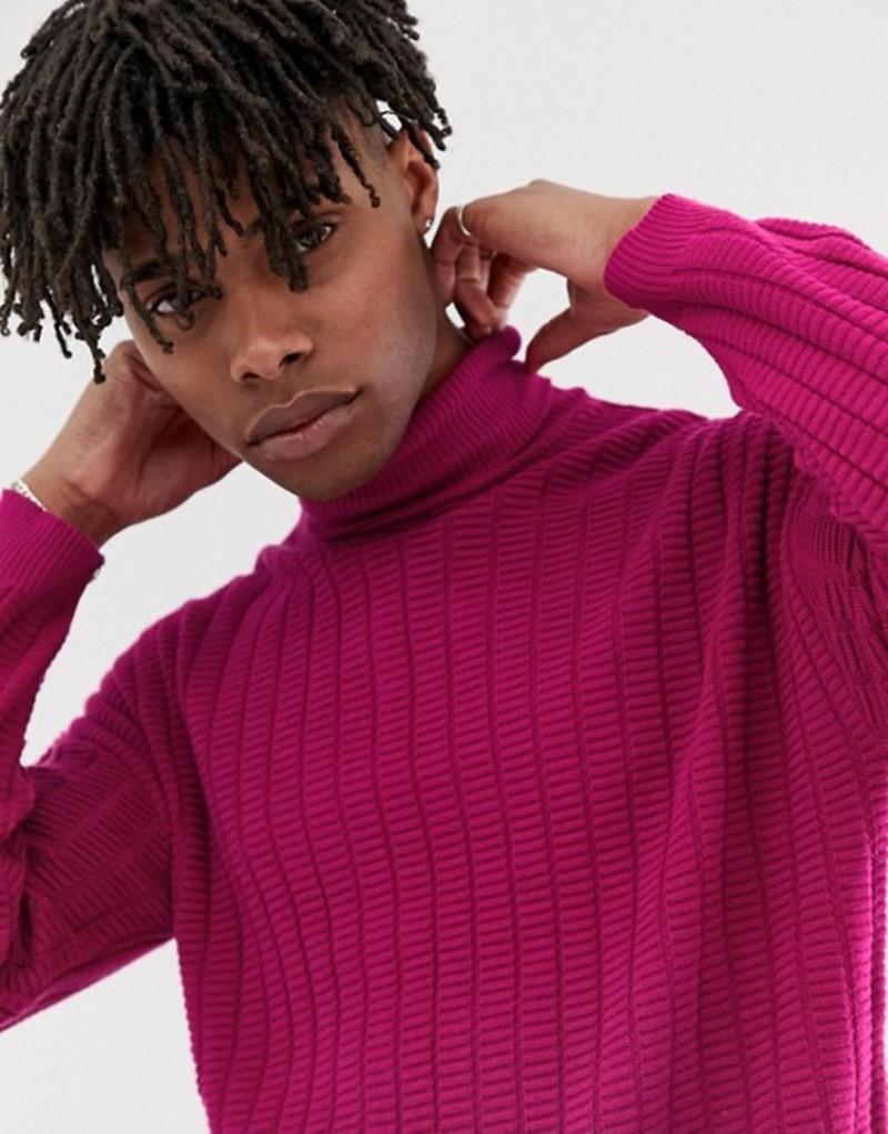 エイソス メンズ ニット・セーター アウター ASOS DESIGN oversized textured roll knit sweater in pink twist Pink