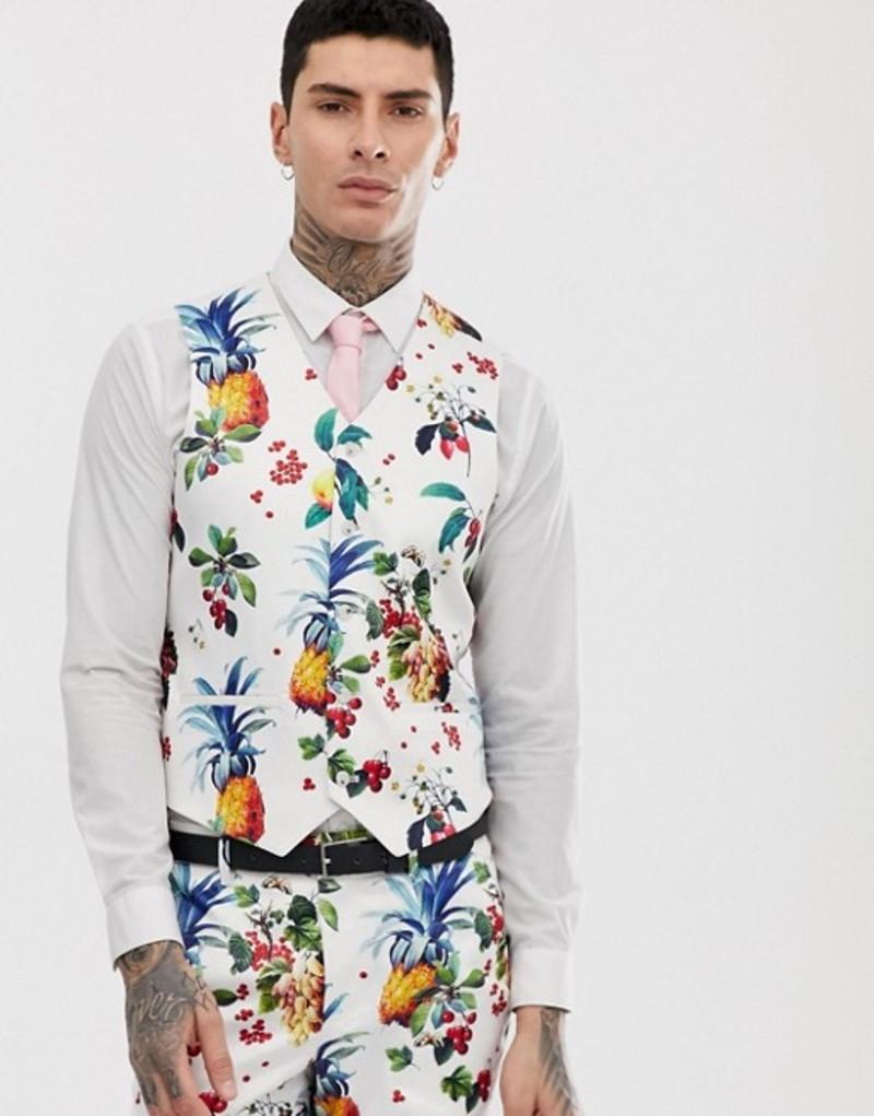 エイソス メンズ タンクトップ トップス ASOS DESIGN wedding super skinny suit vest with all over fruit floral print White