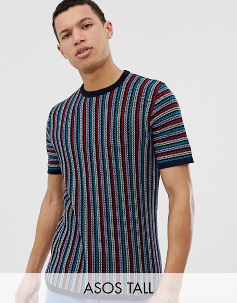 エイソス メンズ Tシャツ トップス ASOS DESIGN Tall knitted t-shirt with zig zag stripe in navy Navy