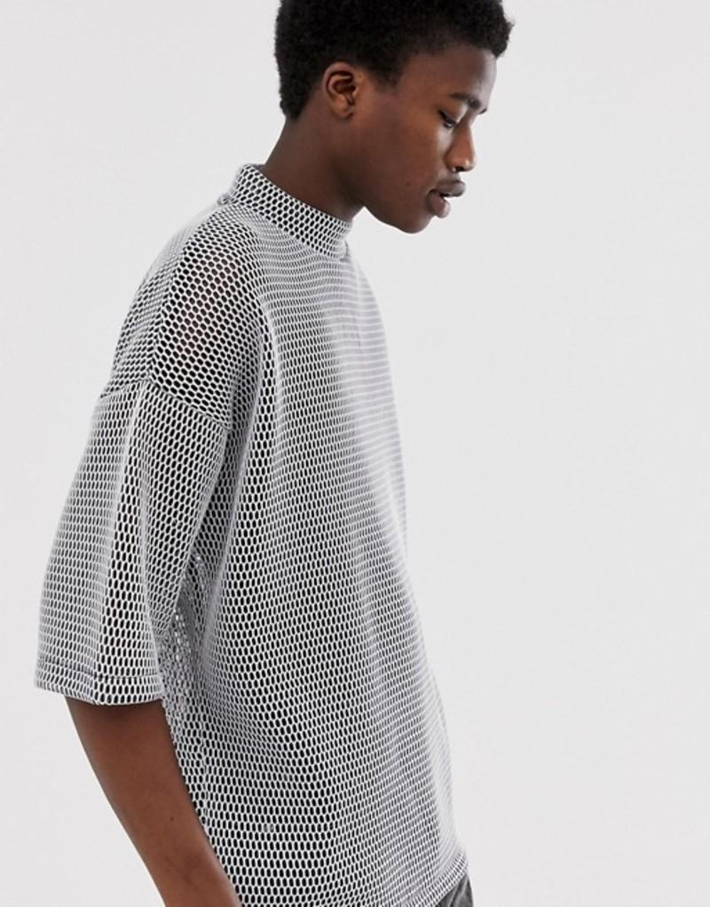 エイソス メンズ Tシャツ トップス ASOS DESIGN oversized t-shirt in half sleeve with turtleneck in chunky mesh Grey