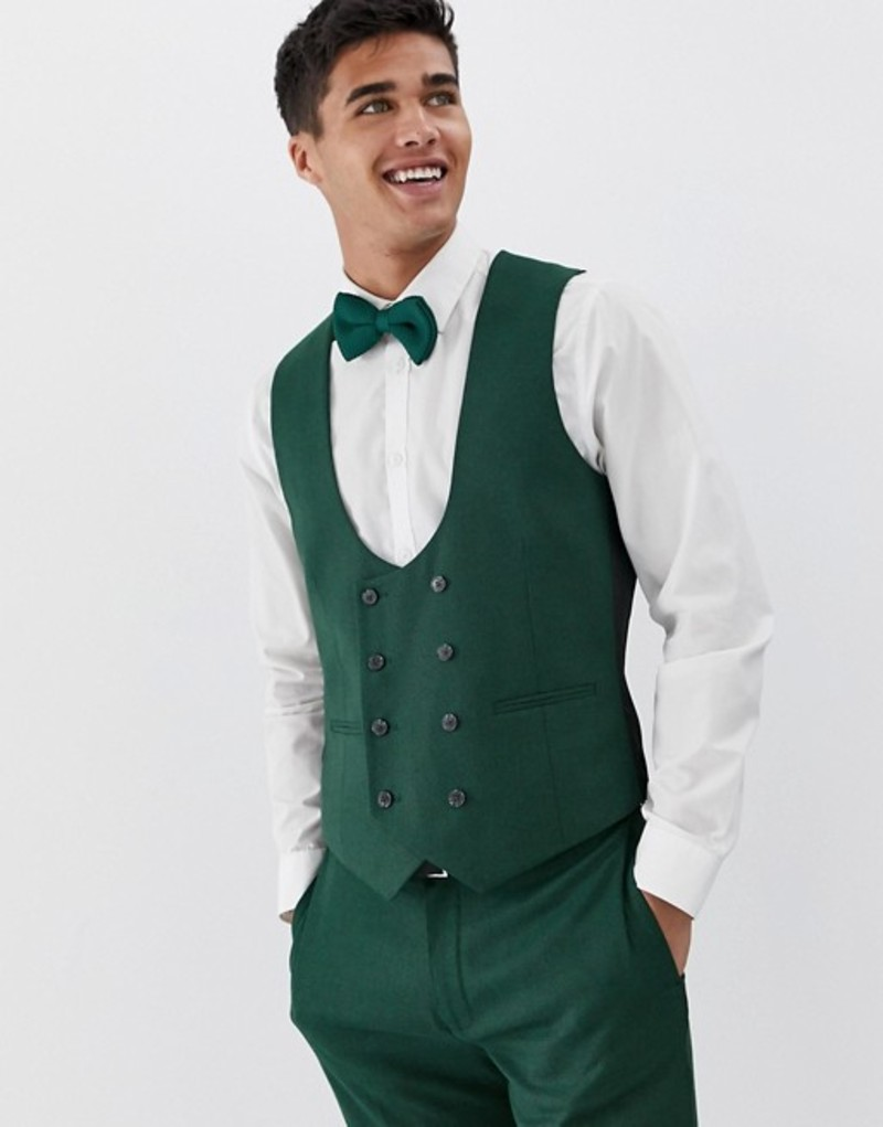 エイソス メンズ タンクトップ トップス ASOS DESIGN wedding skinny suit vest in forest green micro texture Forest green