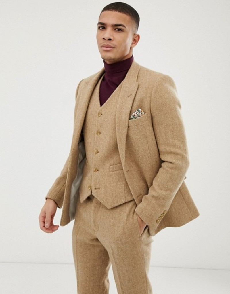エイソス メンズ ジャケット・ブルゾン アウター ASOS DESIGN slim suit jacket in 100% wool Harris Tweed in camel Camel