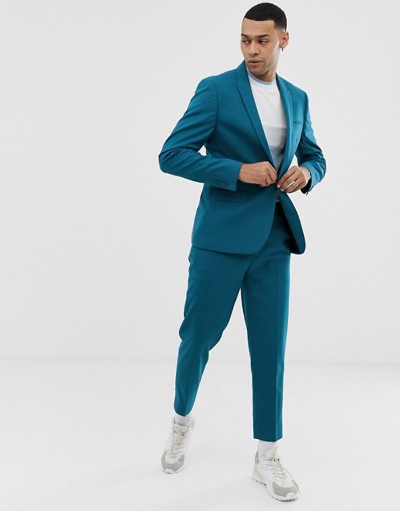 エイソス メンズ ジャケット・ブルゾン アウター ASOS DESIGN skinny suit jacket in teal Blue