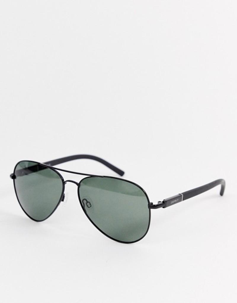 エスプリ メンズ サングラス・アイウェア アクセサリー Esprit polarised aviator sunglasses in black Black