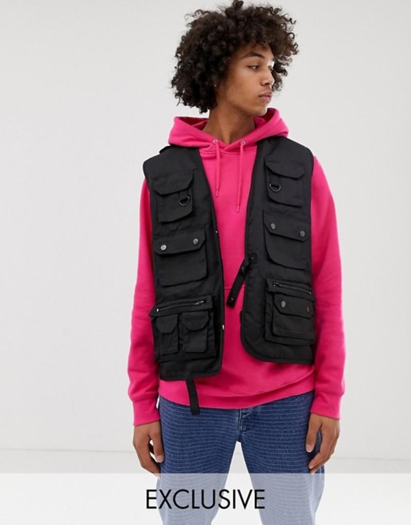 リクレイム ヴィンテージ メンズ タンクトップ トップス Reclaimed Vintage revived vest in black Black