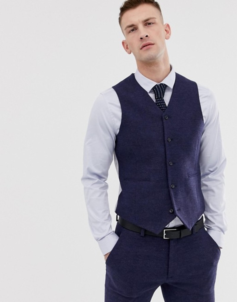 エイソス メンズ タンクトップ トップス ASOS DESIGN wedding super skinny vest in blue micro check Blue