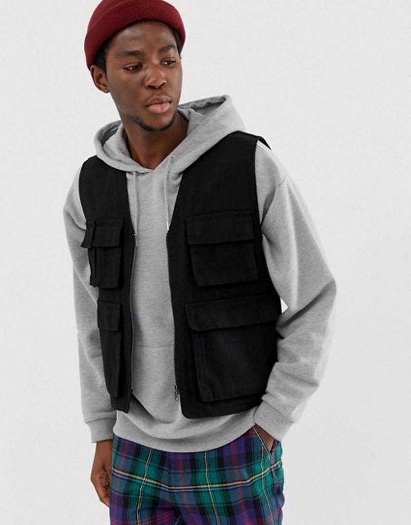 エイソス メンズ タンクトップ トップス ASOS DESIGN utility vest in black Black
