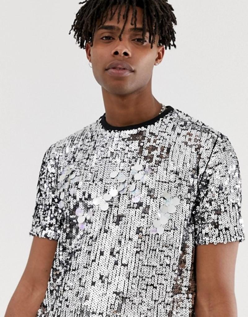 エイソス メンズ Tシャツ トップス ASOS DESIGN festival t-shirt with silver sequins Silver