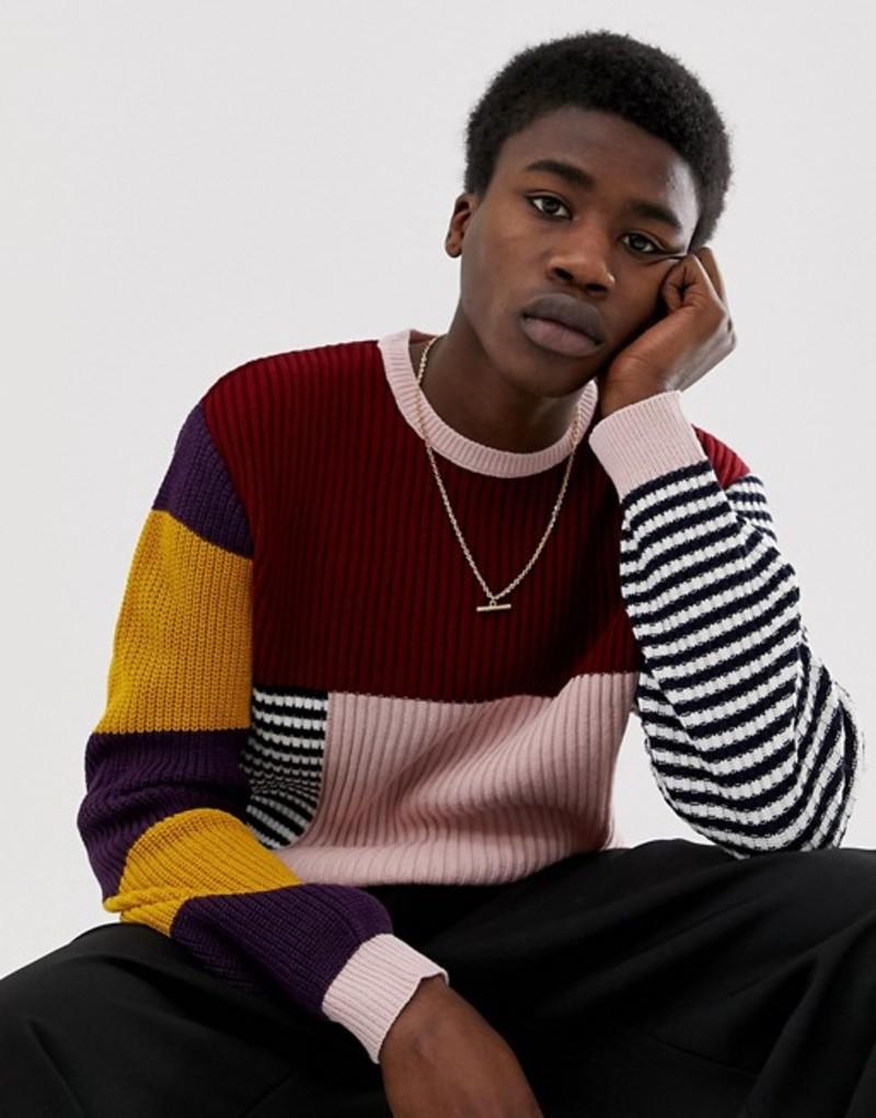 エイソス メンズ ニット・セーター アウター ASOS DESIGN oversized knitted sweater in mixed stripe Multi
