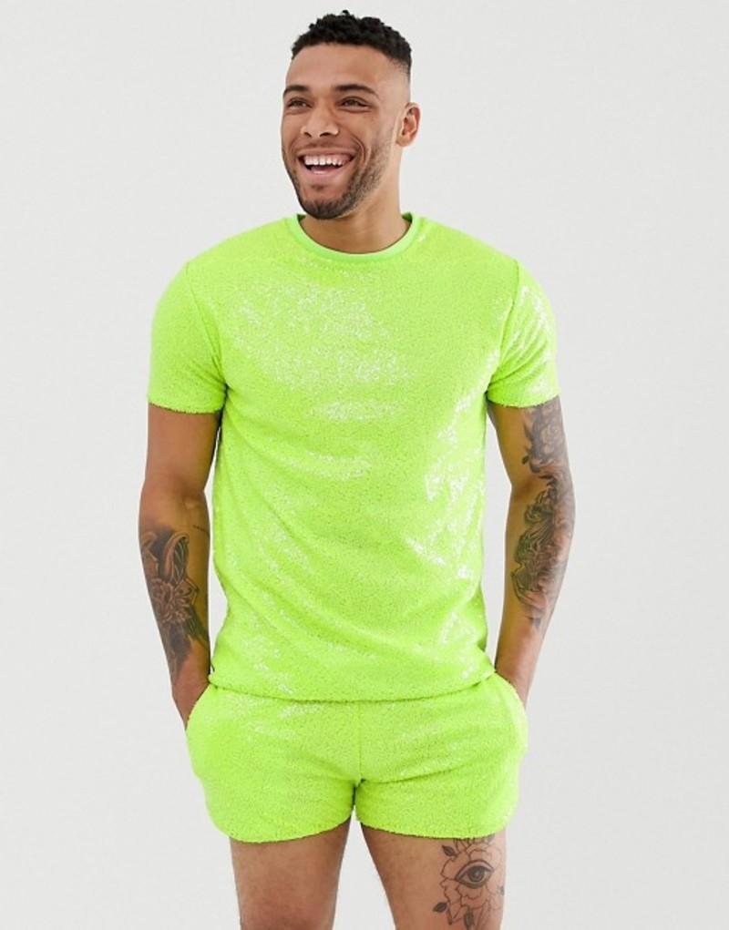 エイソス メンズ Tシャツ トップス ASOS DESIGN Festival two-piece relaxed t-shirt in neon sequins Neon green