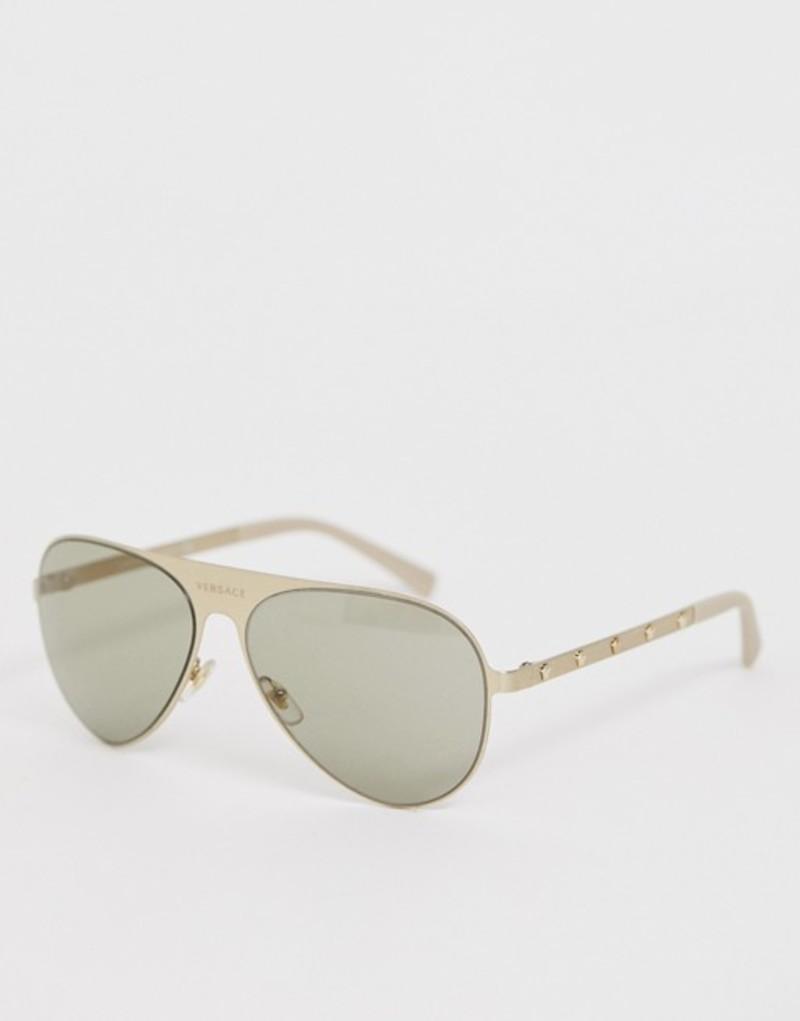 ヴェルサーチ メンズ サングラス・アイウェア アクセサリー Versace 0VE2189 aviator sunglasses Gold