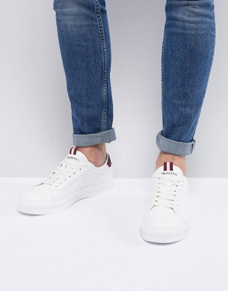 リバーアイランド メンズ スニーカー シューズ River Island sneakers with mesh side detail in white White
